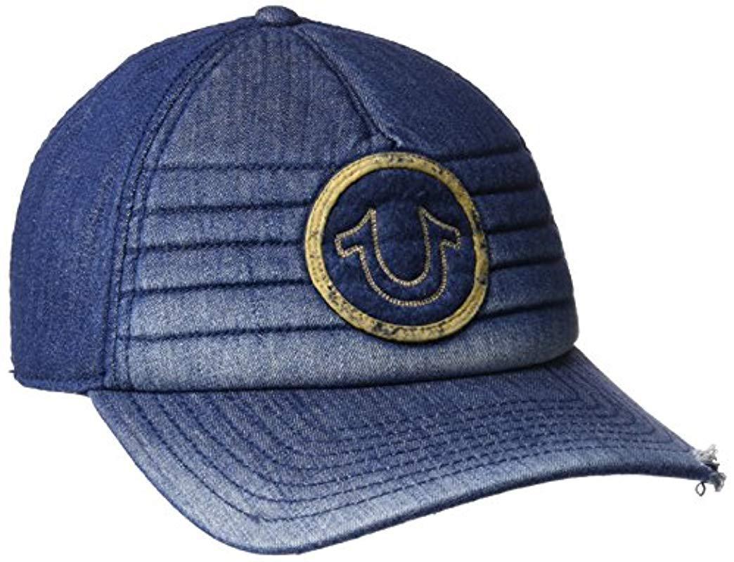 True Religion - Blue Precurved Moto Denim Cap for Men - Lyst. View  fullscreen cedcbb108549