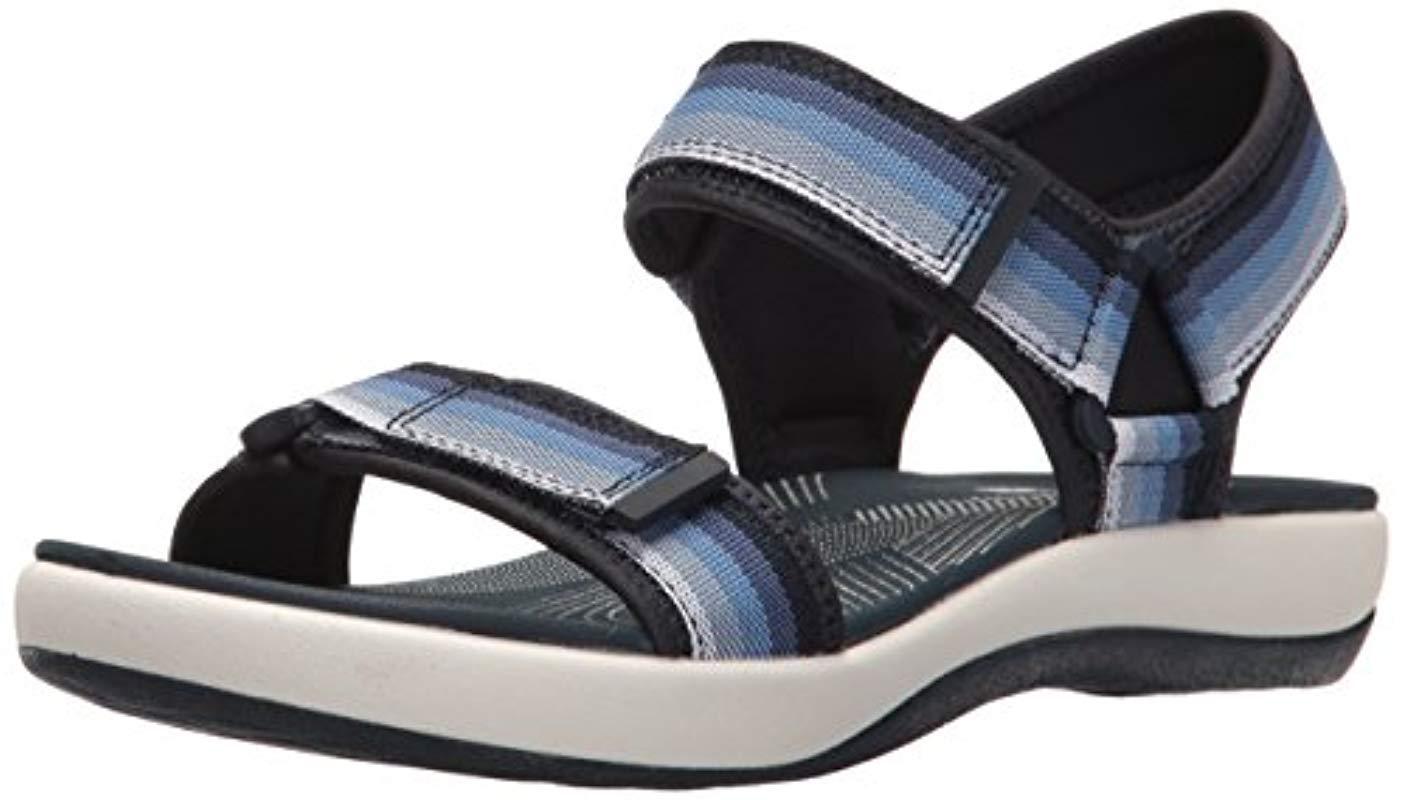 69bfb4147013 Lyst - Clarks Brizo Ravena Flat Sandal in Blue