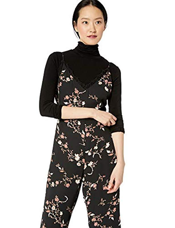 6753c091aecb Lyst - Cupcakes And Cashmere Candor Lace Trim Jumpsuit in Black - Save 61%