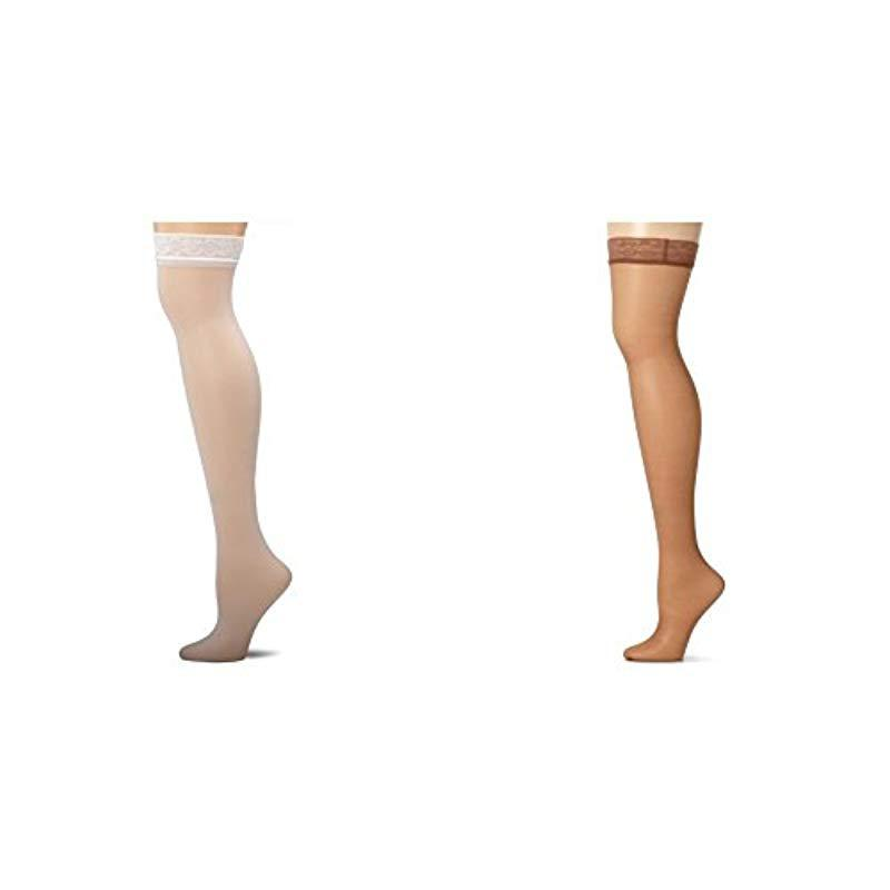 f67a76101bb Lyst - Hanes Silk Reflections Thigh-high Stockings in White