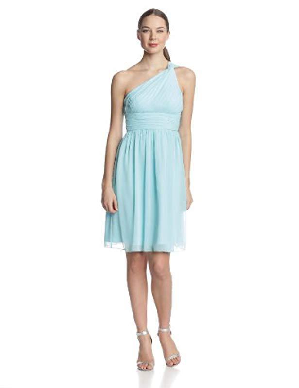 bcc9bccf58bf1 Lyst - Donna Morgan Rhea Short One Shoulder Dress in Blue - Save ...