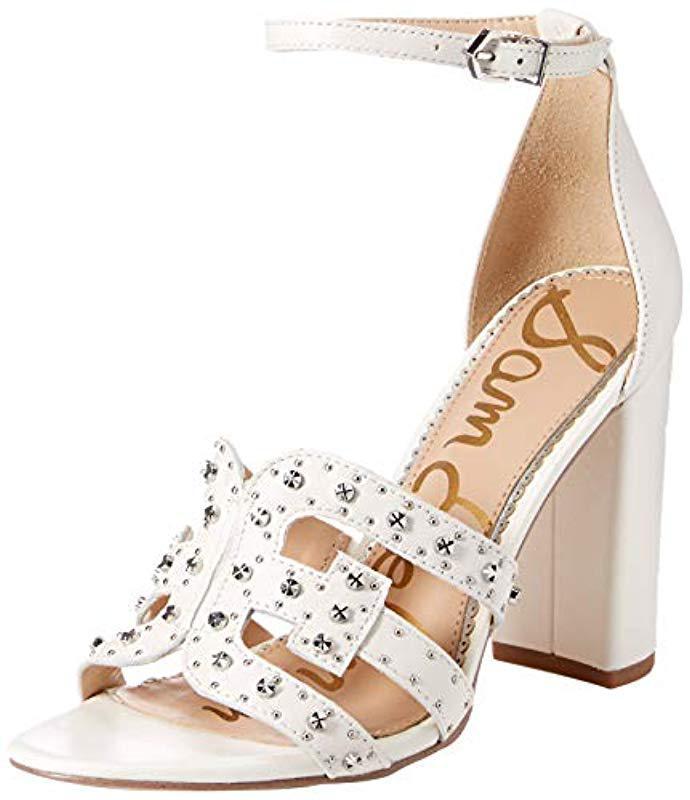 387047737 Lyst - Sam Edelman Yasha Heeled Sandal in White