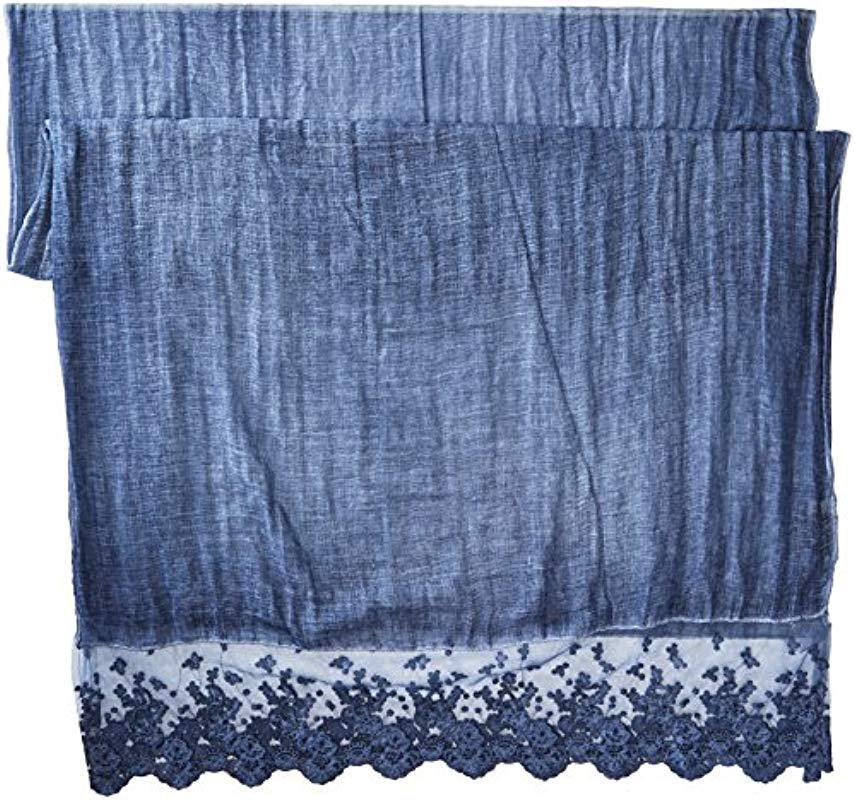 a376fa268daa6 La Fiorentina - Blue Thin Polyester Scarf/wrap With Lacy Trim - Lyst. View  fullscreen