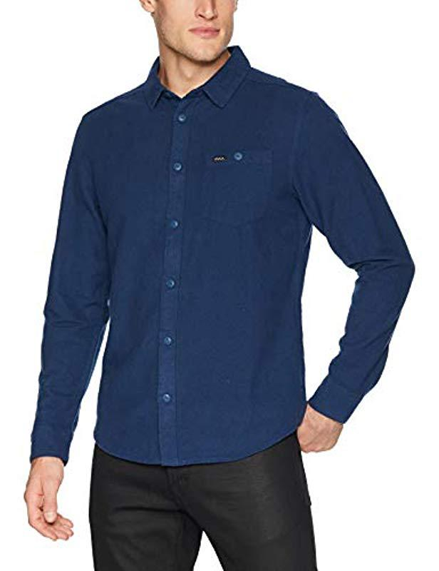 eaccdfb7cb0 Lyst - RVCA Public Works Long Sleeve Woven Button Up Shirt in Blue ...