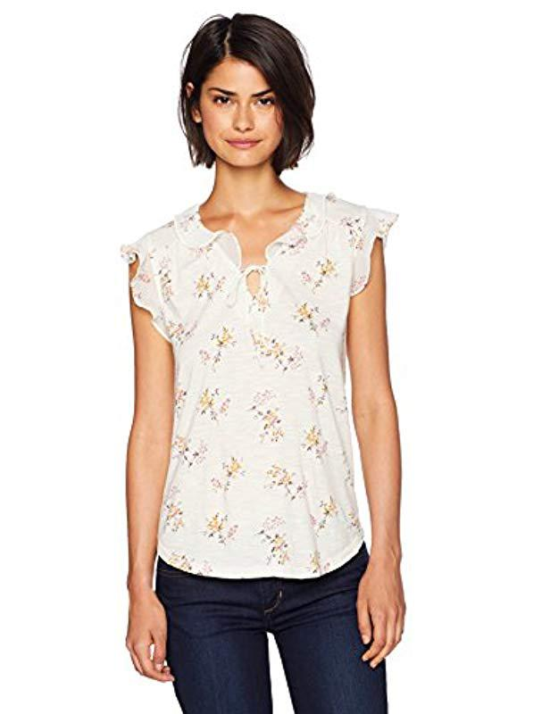 690b55f746ac4 Lyst - Lucky Brand V Neck Flutter Sleeve Top In Natural Multi in ...
