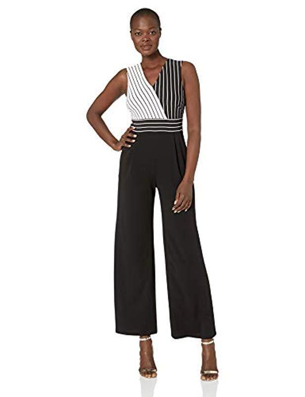 4146b72711 Lyst - Calvin Klein Sleeveless V Neck Jumpsuit in Black