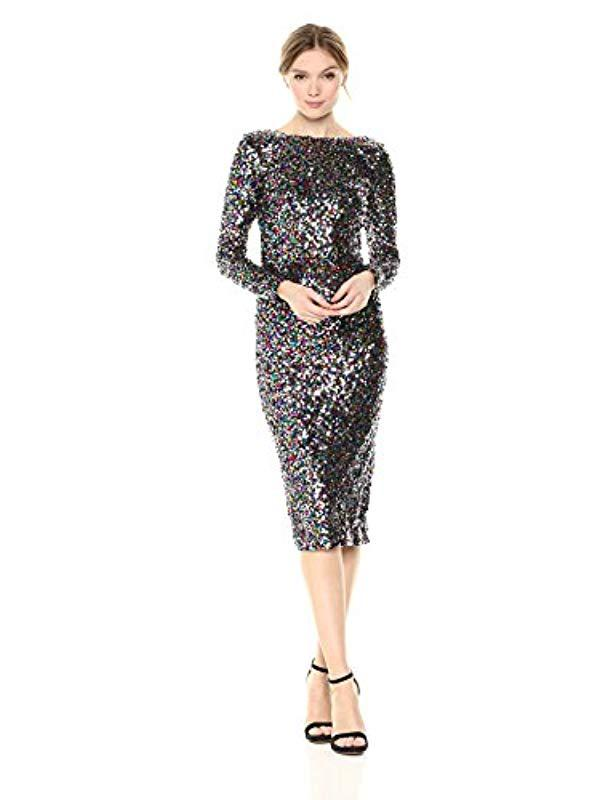 01db247579e8 Lyst - Dress the Population Emery Long Sleeve Stretch Sequin Midi ...
