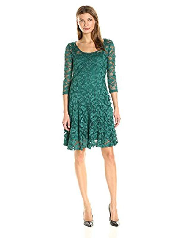 07921031099 Lyst - Chetta B 3/4 Sleeve Lace Dress in Green - Save 30%