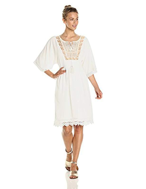 dbab7d930be Ella Moon. Women s White Everlie Kimono Sleeve Embroidered Bib Lace Trim  Midi Dress