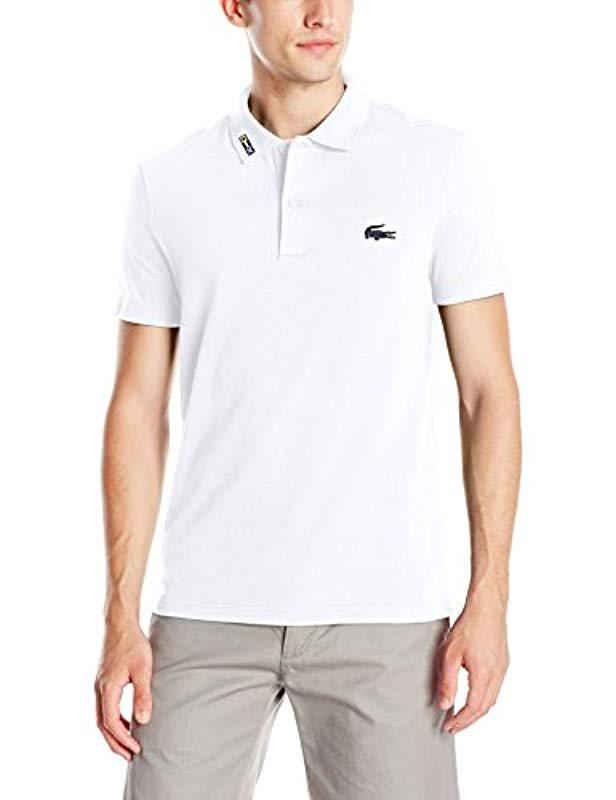 807d8b7c2921f Lyst - Lacoste Short Sleeve Clean Seams Pique W  Rubber Croc in ...