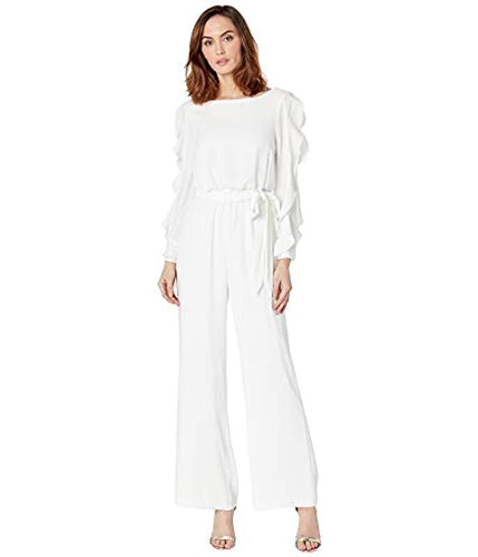 4e9e146b566 Lyst - Adrianna Papell Fancy Crepe Ruffled Jumpsuit in White