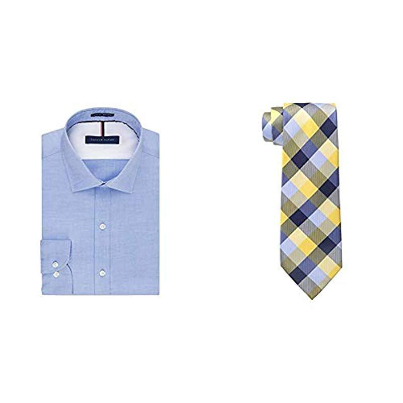 fe1f91043 Tommy Hilfiger. Men's Blue Dress Shirts Non Iron Slim Fit Solid Spread  Collar