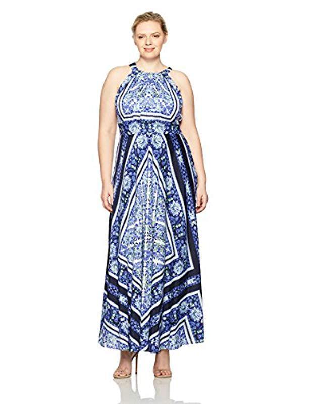 bb5a134c69 Lyst - Eliza J Plus Size Scarf Print Maxi in Blue