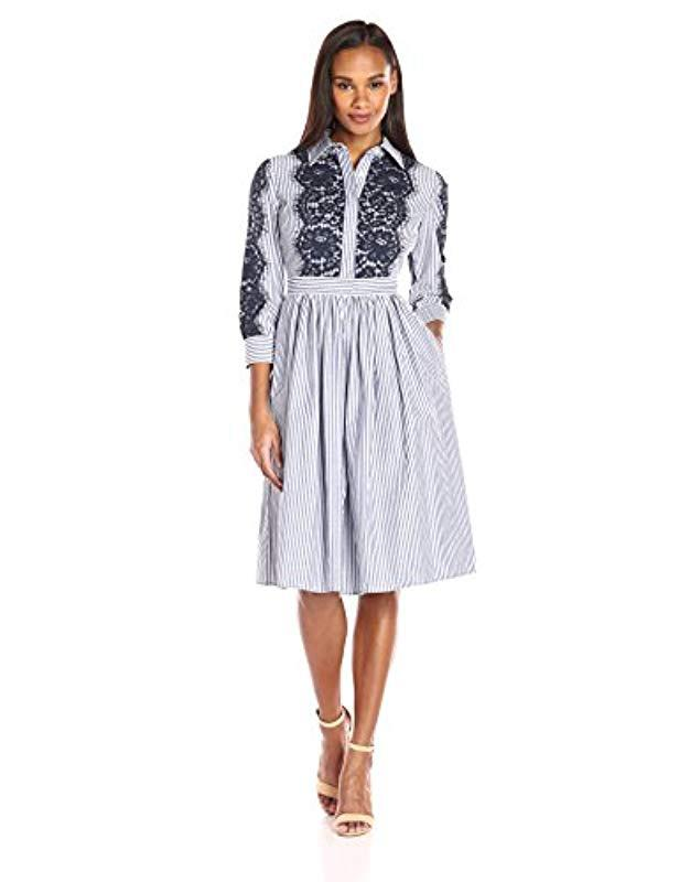8bc0bb9ecf4 Lyst - Eliza J Shirt Dress With Lace Detail in Blue