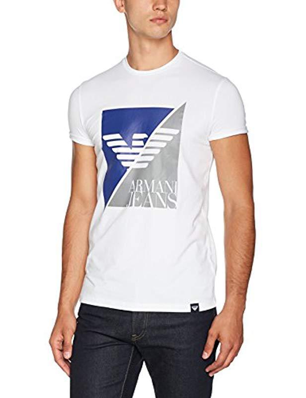 Plus Men Jeans Shirt In Armani Lyst T White Eagle Logo Size Split For EZ1CCx7qw