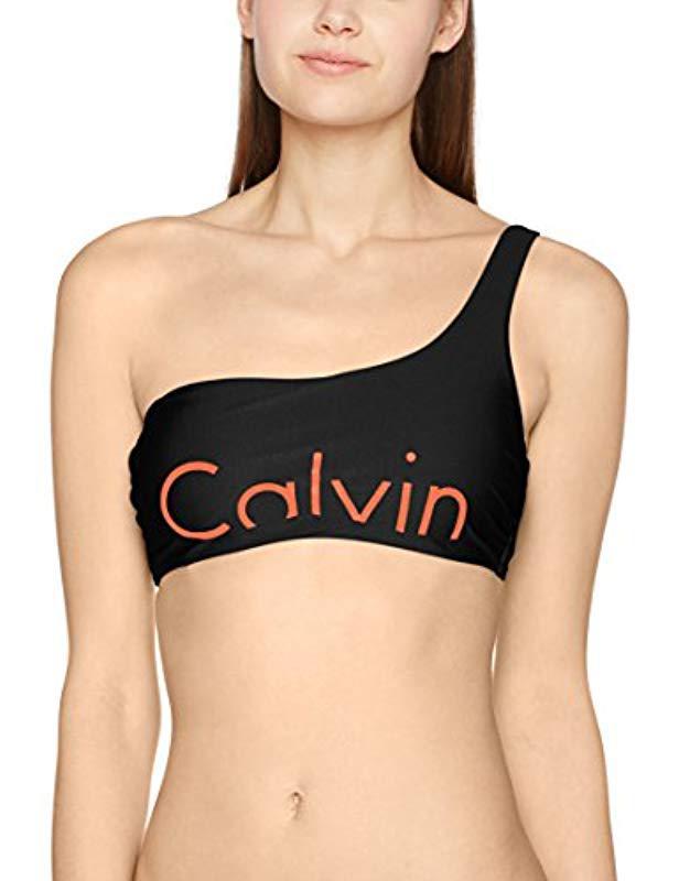 c5e311fa56459 Calvin Klein One Shoulder Bralette-rp Bikini Top in Black - Lyst