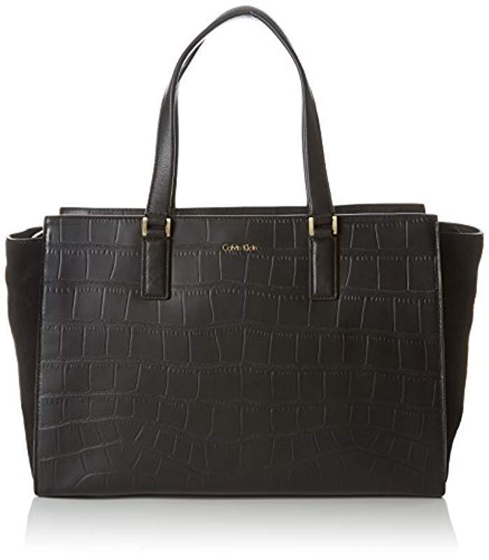ae4d3a35fc Calvin Klein Shari Croc Large Tote Bag, (black 001), 18x24x49 Cm (b ...