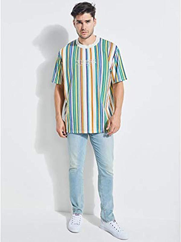 1b9dc3b085 Guess Short Sleeve Riviera Stripe Crew Neck Shirt in Blue for Men - Lyst