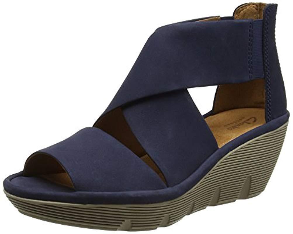 dddbd5fb2b3 Clarks Clarene Glamor Wedge Heels Sandals in Blue - Lyst