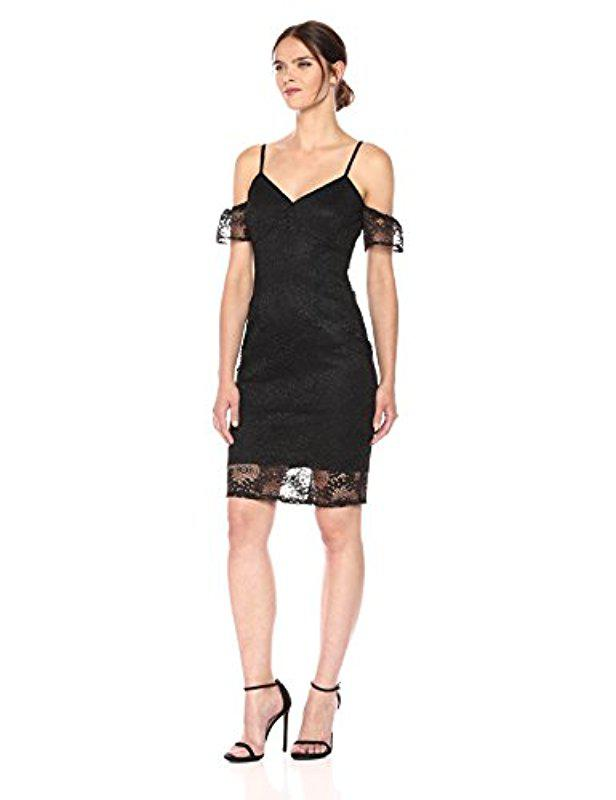 a03bc0dc7e Guess Cold Shoulder Lace Midi Dress in Black - Save 36% - Lyst