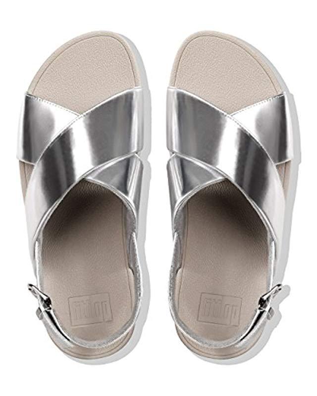 72d3af012f610d Fitflop - Metallic Lulu Cross Back-strap Sandals-mirror Open Toe - Lyst.  View fullscreen