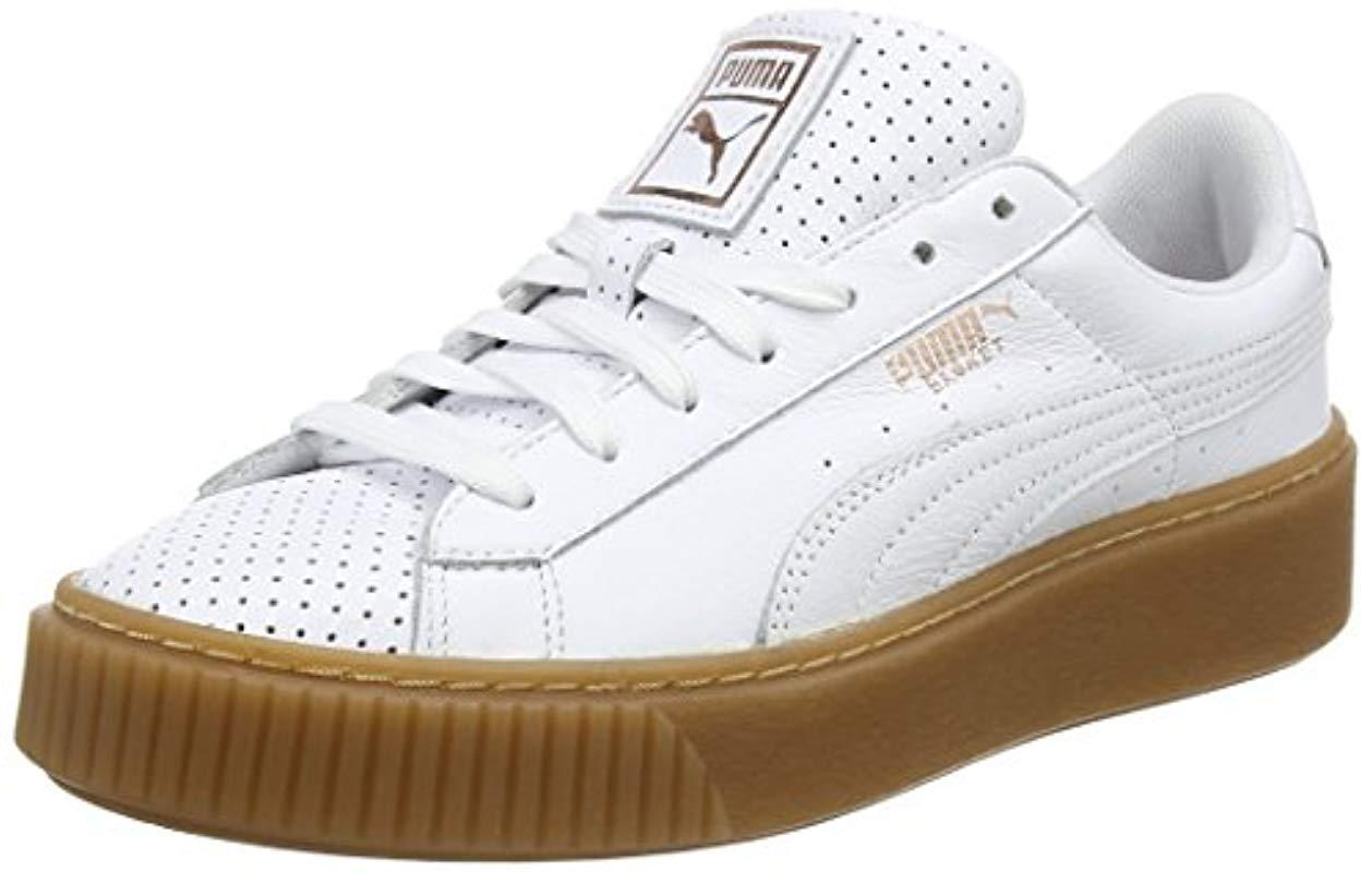 premium selection 3053d 85b35 puma basket platform perf. l white rose gold