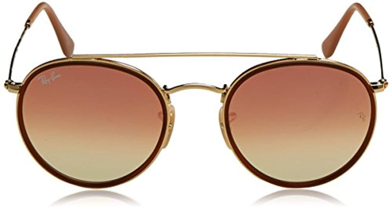 dd9f8a9eb05 Ray-Ban - Metallic Round Double Bridge Sunglasses In Gold Brown Rb3647n 001  7o. View fullscreen
