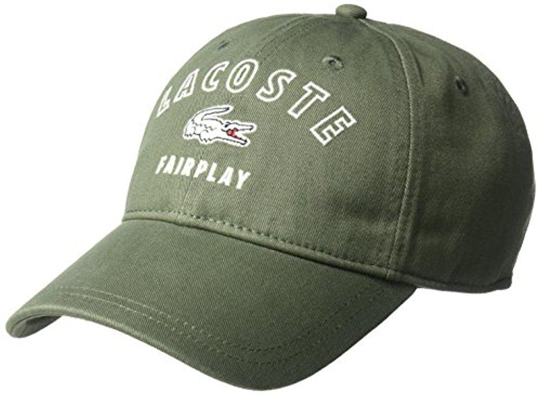 Lyst - Lacoste Gabrdine Fairplay Cap in Green for Men 02e5f52c8672
