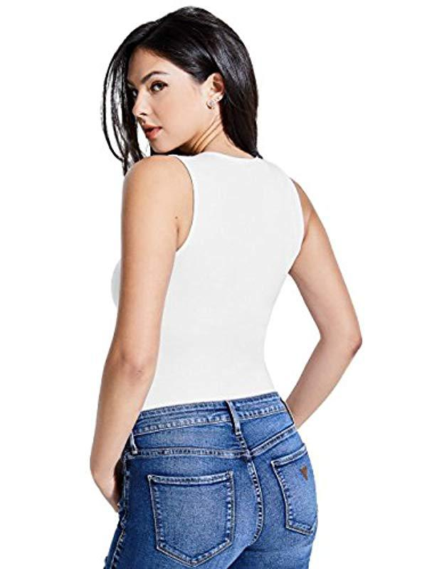 Lyst - Guess Sleeveless Sherri Strappy Bodysuit in White d1a7f2754