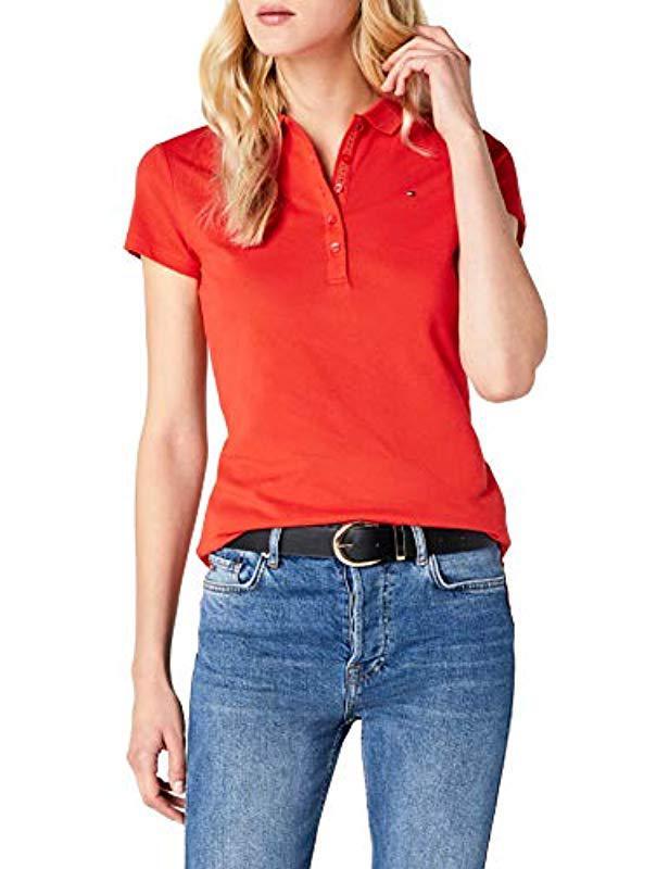 Tommy Hilfiger New Chiara Str Pq Polo Ss Shirt in Orange - Lyst 14b755e251