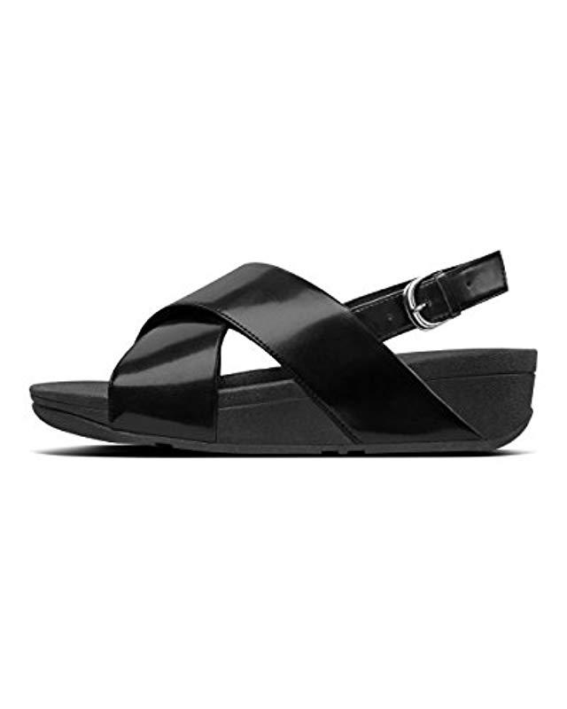 bf717e25d70b Fitflop Lulu Back Strap Mirror Ankle Sandals in Black - Lyst