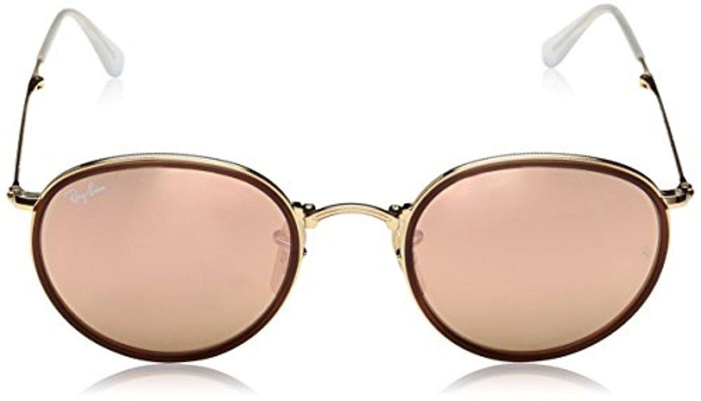 Lyst - Ray-Ban Rb3517 001 z2 Round - Gold Frame Brown Mirror Pink ... 9e6766f5cb