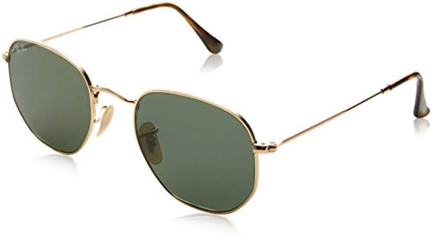 Ray-Ban. Men s Black Hexagonal Flat Lens Sunglasses In Gold Green Rb3548n  001 51 ff113596ee