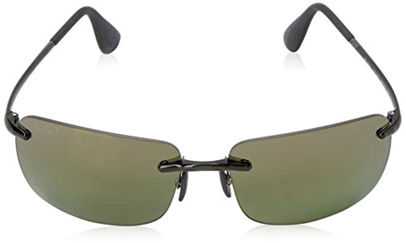 b98c9f91d2 Ray-Ban Rectangle Rimless Sunglasses In Grey Green Polarised Mirror ...