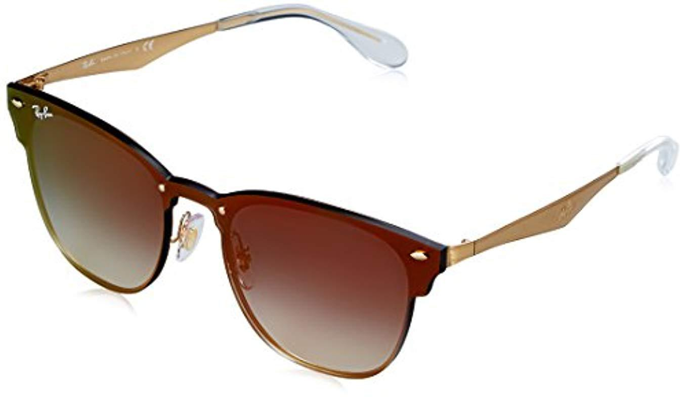 0bfe33aaadc Ray-Ban. Women s Blaze Clubmaster Sunglasses In Brushed Gold Blue Red  Gradient Mirror Rb3576n 043 x0 41