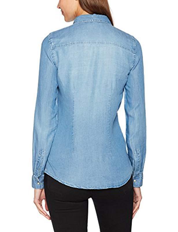 Vero Moda Vmvera Ls Denim Shirt Lt Blue Ga Noos Blouse in Blue - Lyst e015f9f51c64