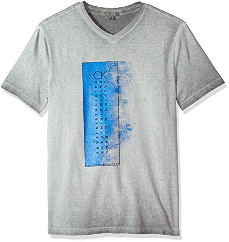 CALVIN KLEIN 205W39NYC. Men's Gray Short Sleeve T-shirt Crew Neck Gradient  ...
