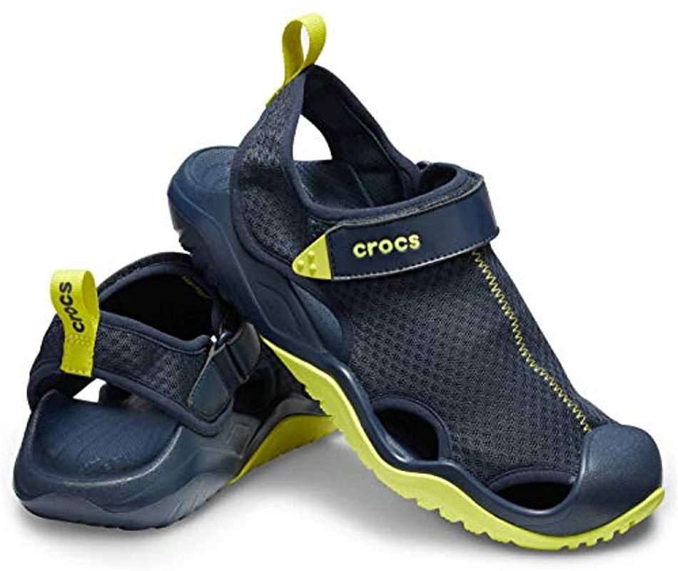 68ec9649ca4e Crocs™ - Blue Swiftwater Mesh Deck Sandal Sport for Men - Lyst. View  fullscreen