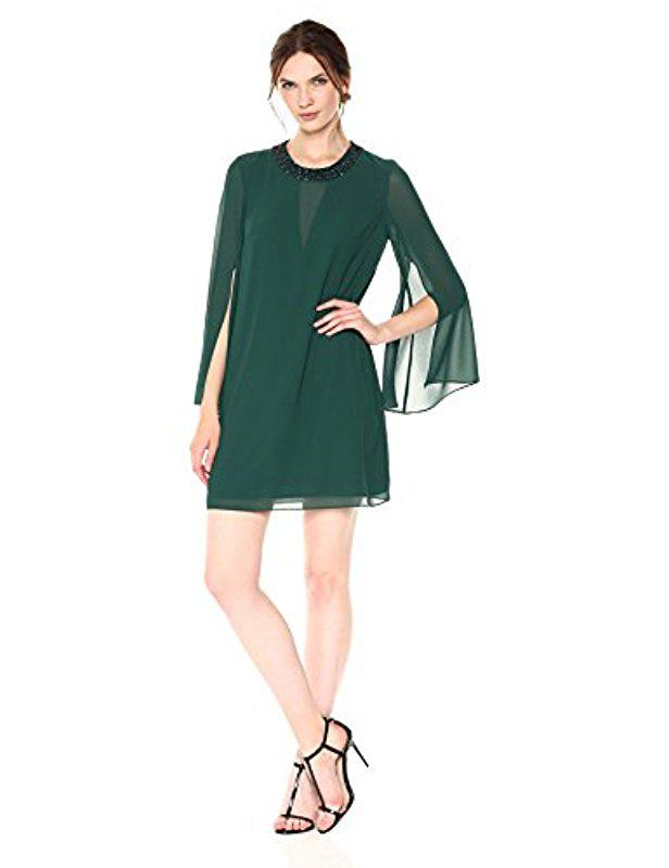 88a1b76ce62e8 Lyst - Vince Camuto Embellished Neck Chiffon Shift Dress in Green
