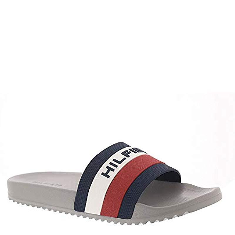 ea6c528a1e1e Lyst - Tommy Hilfiger Raj Stripe Slide Sandal in Gray for Men - Save 28%