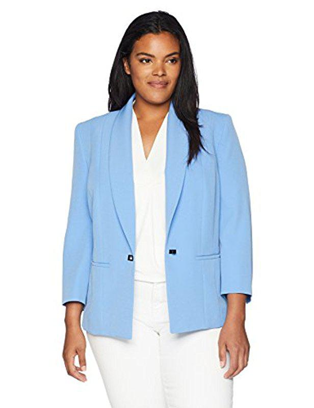 a89033df035 Lyst - Kasper Plus Size Stretch Crepe One Button Jacket With Notch ...