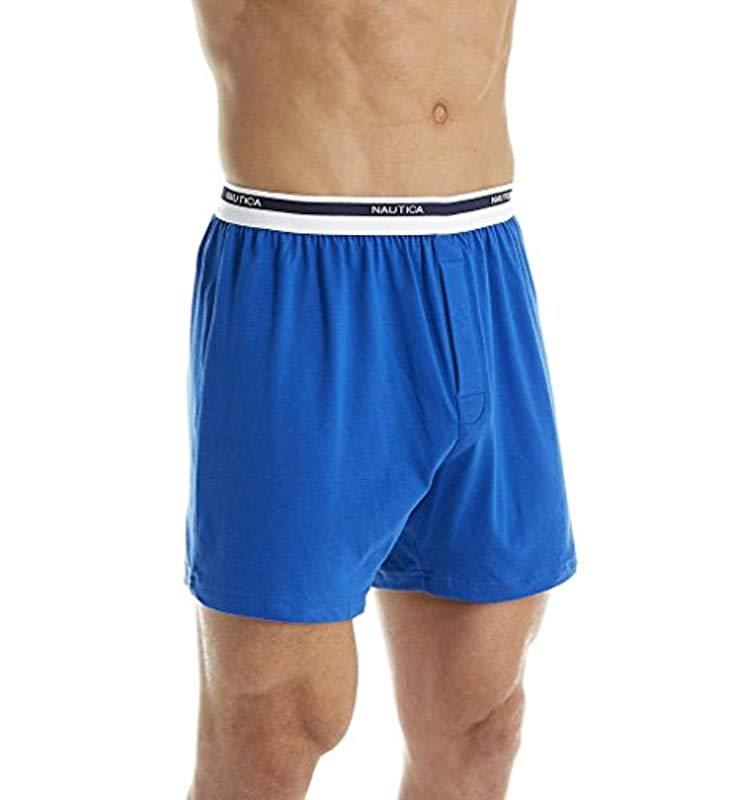23a8b67aca24 Nautica - Blue Classic Cotton Exposed Waistband Knit Boxer for Men - Lyst.  View fullscreen