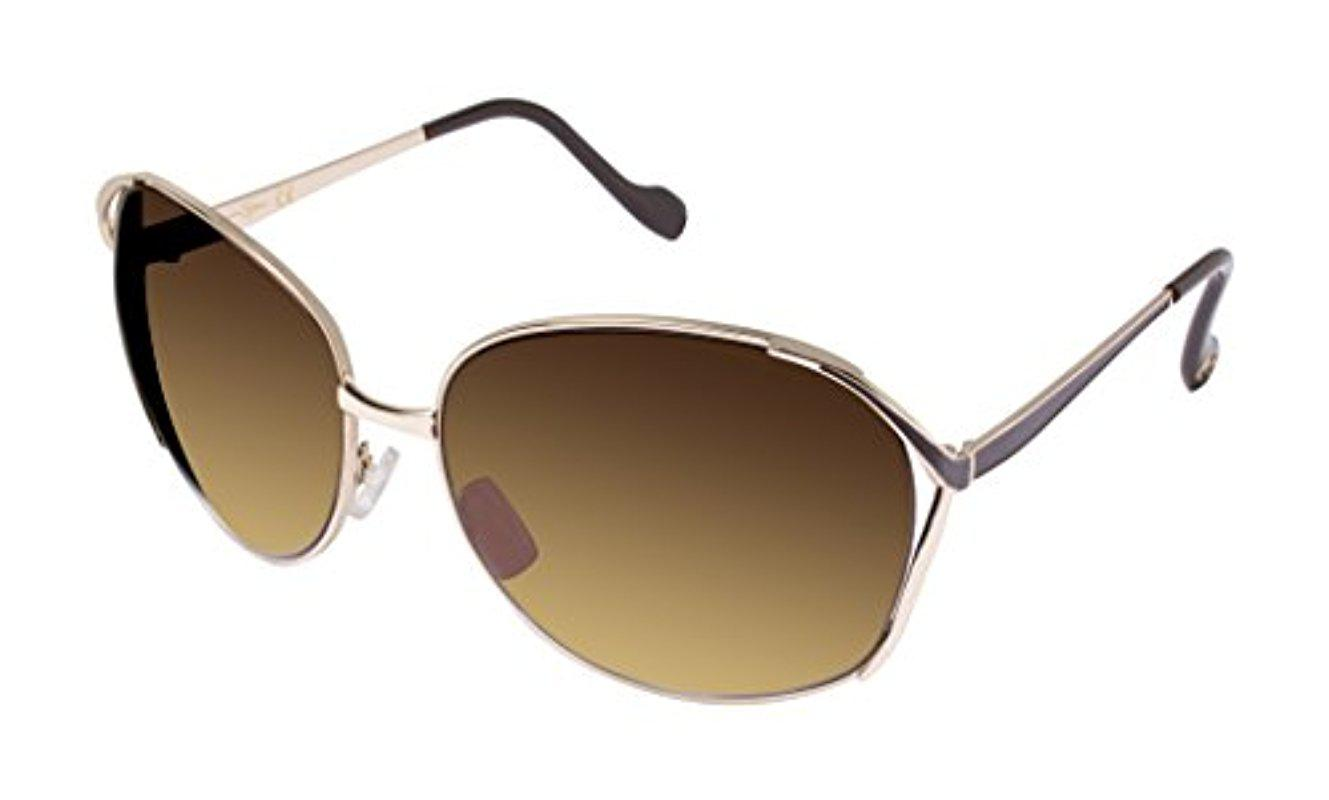 1a82b115f9688 Lyst - Jessica Simpson J5255 Gdbrn Oval Sunglasses
