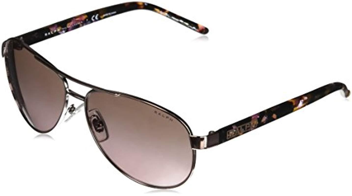 72bd3dd56ed Lyst - Ralph By Ralph Lauren Metal Woman Aviator Sunglasses
