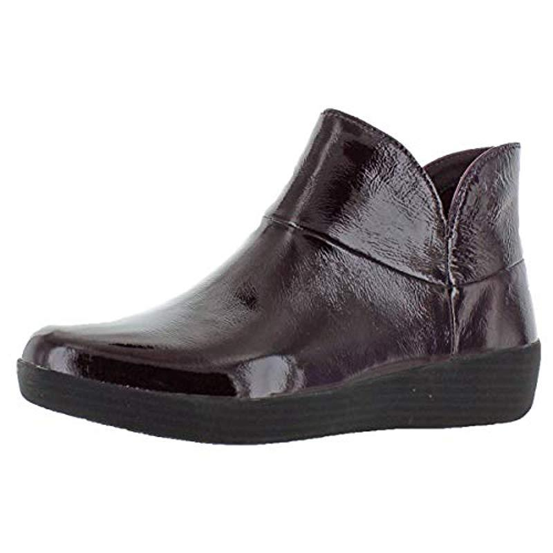 a9105f3602c Lyst - Fitflop Supermod Ii Crinkle-patent Leather Ankle Boots in ...