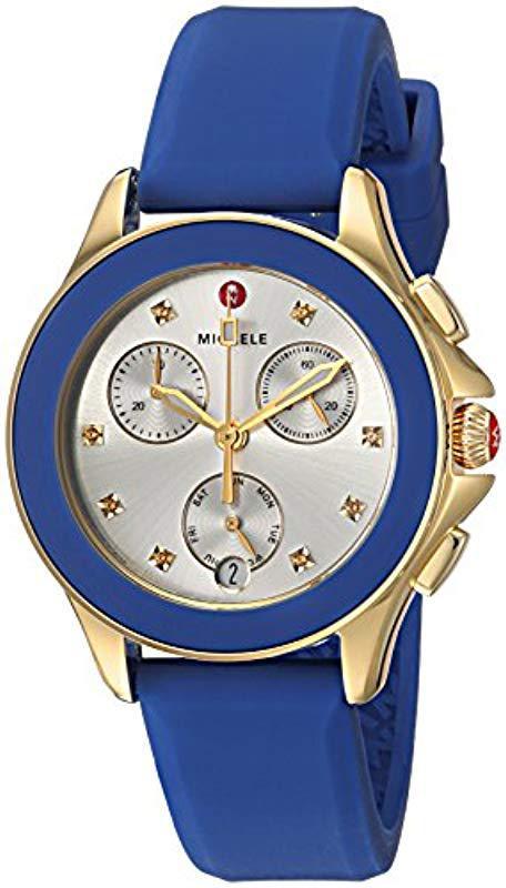 ab4db9ac6 Michele S Cape Chrono Topaz Cobalt Gold Blue in Blue - Lyst