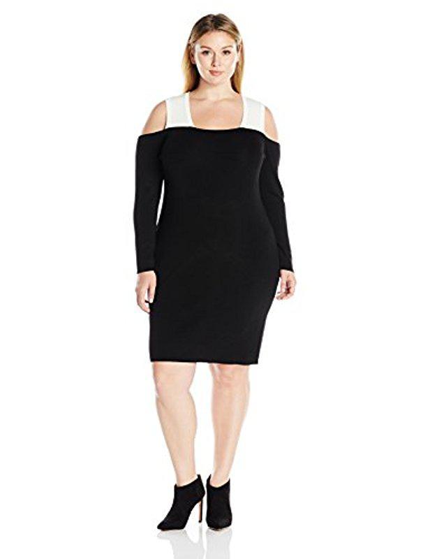 Lyst Calvin Klein Plus Size Colorblock Cold Shoulder Dress In Black