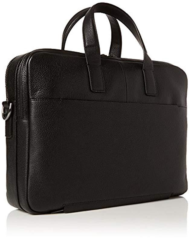 Calvin Klein Essential Leather 2 Gusset Laptop Bag S Black 42x8x41 Cm B X H T In For Men