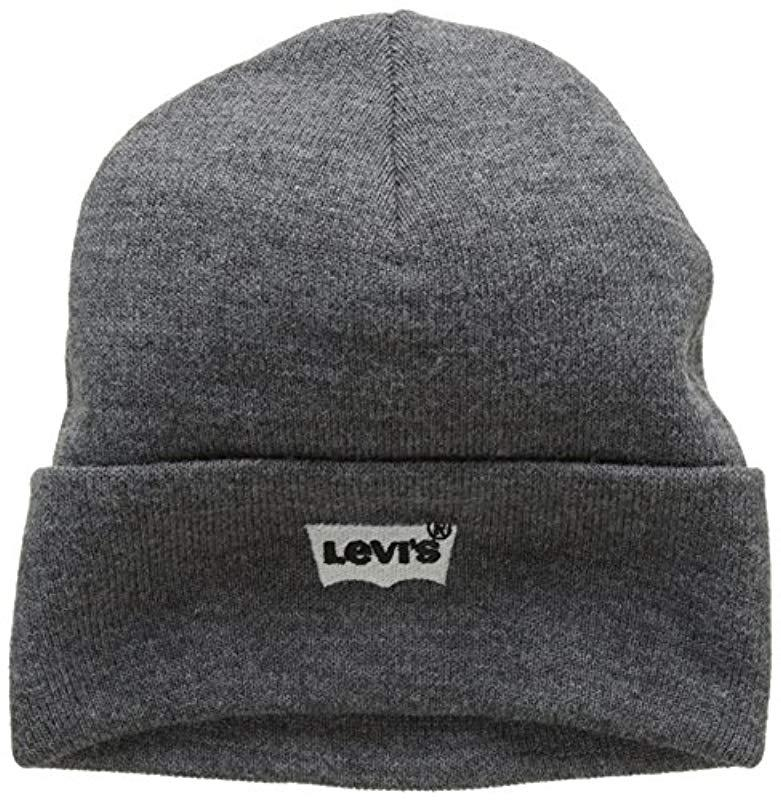aeeaad49 Levi's 's Batwing Embroidered Slouchy Beanie in Gray for Men - Lyst