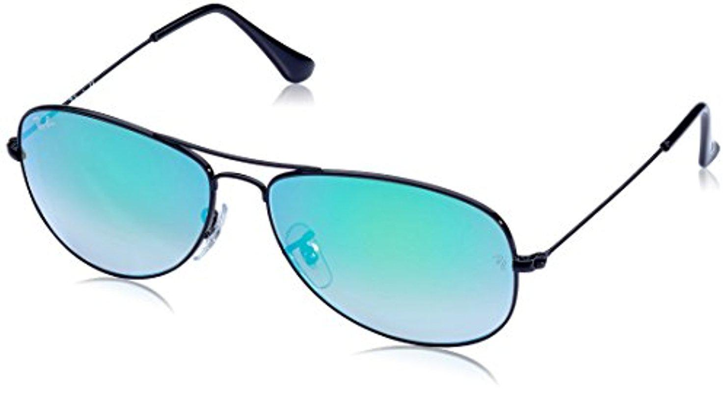 a32c28be24 Lyst - Ray-Ban Cockpit - Shiny Black Frame Green Gradient Flash ...